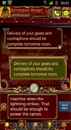 steampunk go sms pro theme by mindseed